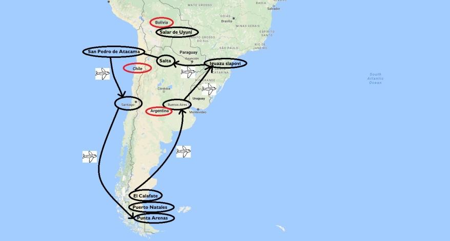 Načrt potovanja Čile in Argentina